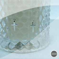 Sterling silver long cross threader earrings