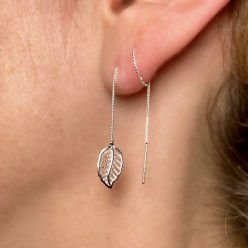 Leaf threader earrings with double piercing