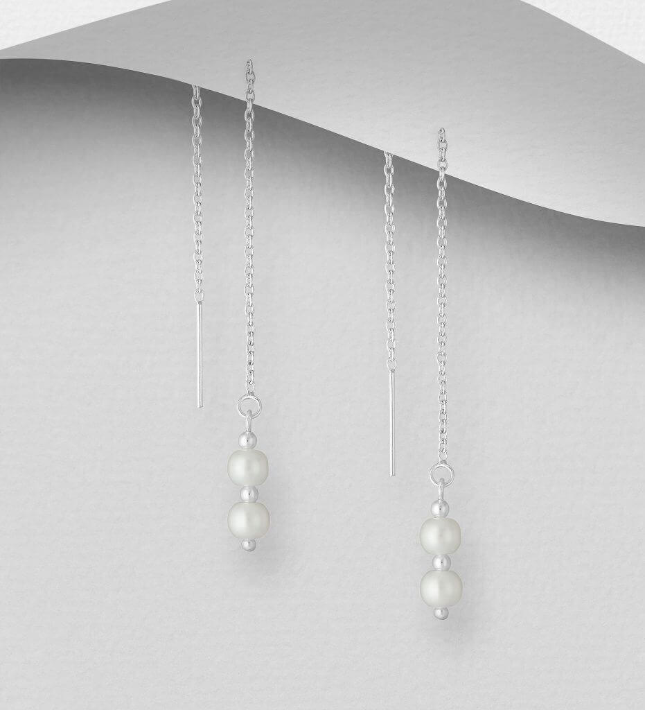 925 Sterling Silver Threader Earrings, Beaded with Simulated Pearls