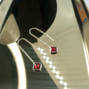 925 Sterling Silver Threader Earrings Decorated with CZ Simulated Diamonds