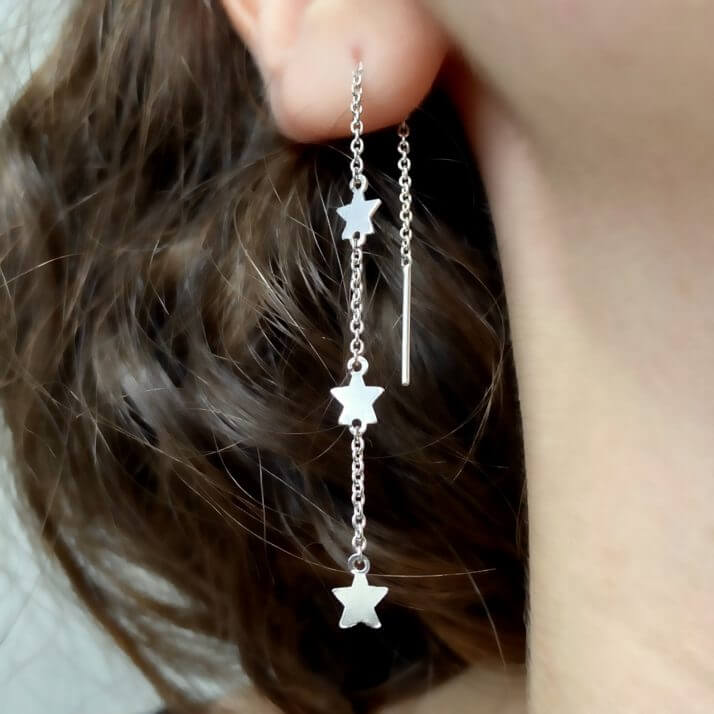 Sterling silver star threader earrings