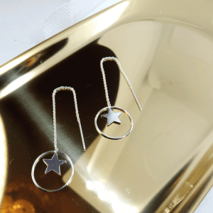 Star and circle threader earrings
