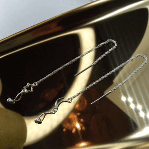Star and moon dangly threader earrings