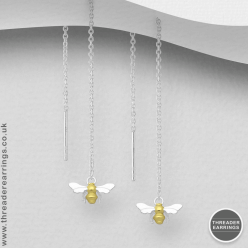 Sterling silver bee threader earrings with gold plating