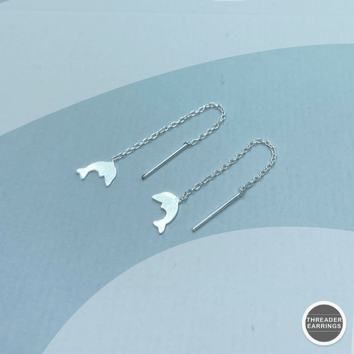 Sterling silver dolphin threader earrings