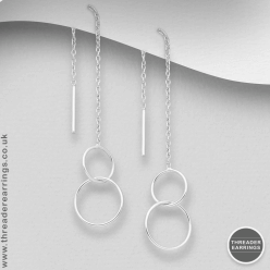 Sterling silver double circle threader earrings