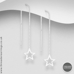 Sterling silver open cut flat star threader earrings
