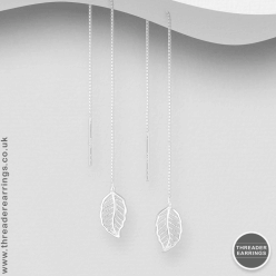 Sterling silver leaf threader earrings