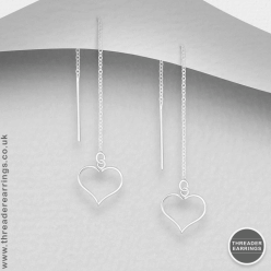 Sterling silver open wire heart threader earrings