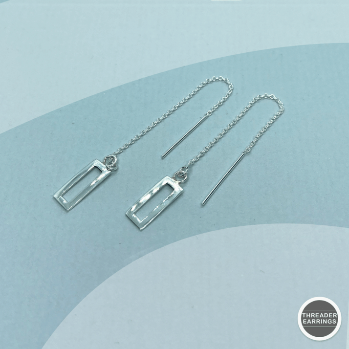 Sterling silver rectangle threader earrings