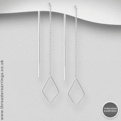 Sterling silver rhombus threader earrings