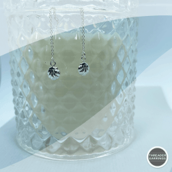 Sterling silver shell threader earrings - hanging view