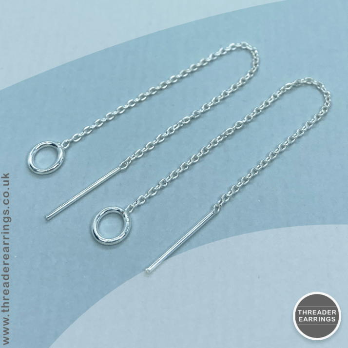 Sterling silver small circle threader earrings