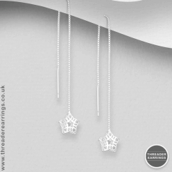 Sterling silver star cage threader earrings