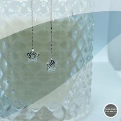 Sterling silver star cage threader earrings - hanging view