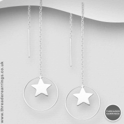 Sterling silver star and hoop threader earrings
