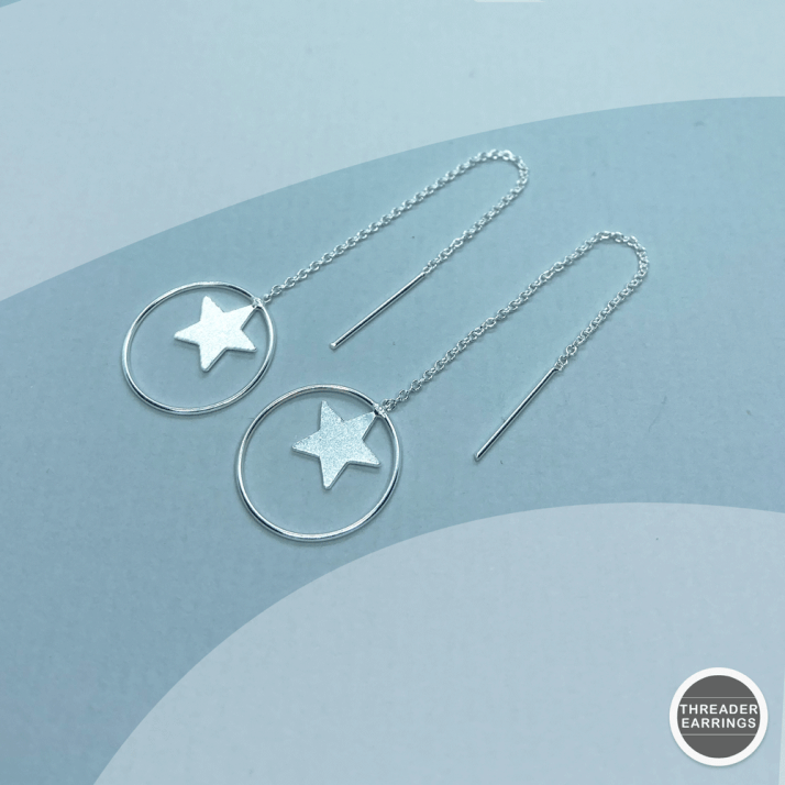 Sterling silver star in a hoop threader earrings