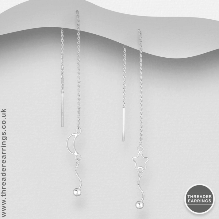 Sterling silver star and moon dangly threader earrings