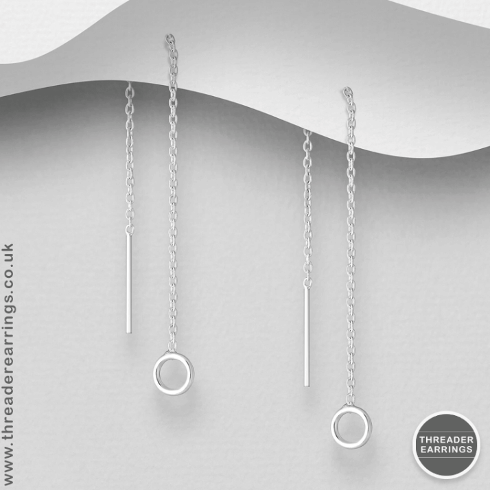 Sterling silver tiny circle threader earrings