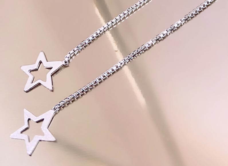 Open Star threader earrings