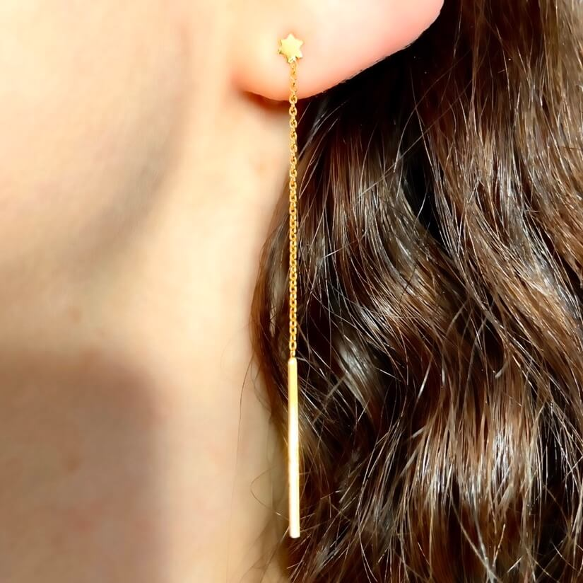 Gold plated sterling silver threader earrings