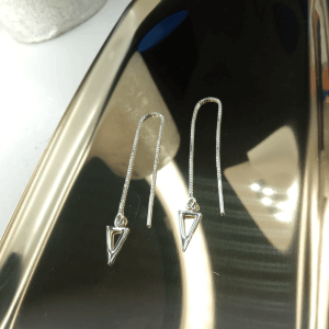 Triangle Sterling Silver Threader Earrings