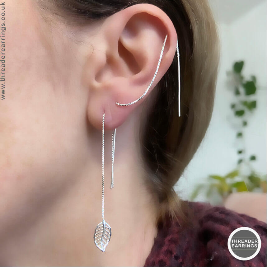 Threader earrings with double piercing and helix