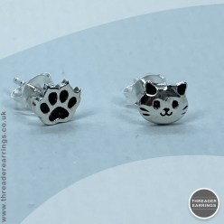 Cat and paw sterling silver stud earrings