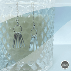 Sterling silver 7 bar threader earrings - hanging view