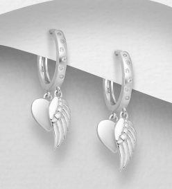 925 Sterling Silver Hoop Earrings with Heart and Wing Charm, Decorated with CZ Simulated Diamonds
