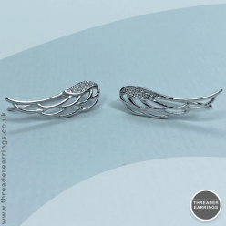 Sterling silver angel wing ear climbers