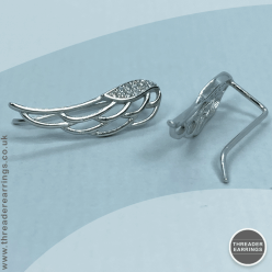 Sterling silver angel wing ear climbers - side view