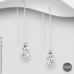 Sterling silver bee threader earrings