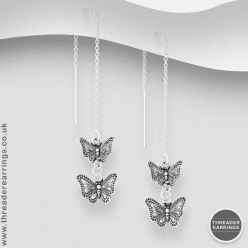 Sterling silver butterfly threader earrings
