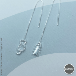 Sterling silver cat and bone threader earrings
