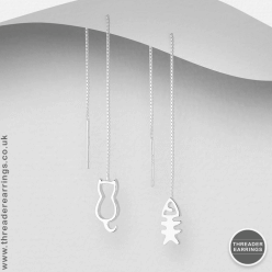 Sterling silver cat and fishbone threader earrings - studio photo