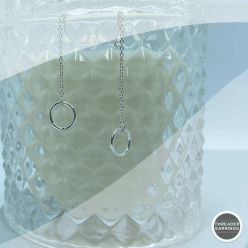 Sterling silver circle threader earrings - hanging view