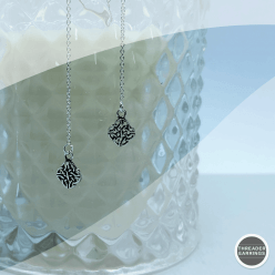 Sterling silver celtic threader earrings - hanging view