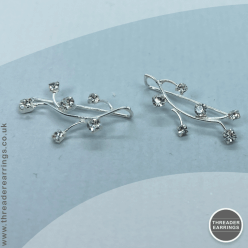 Sterling silver crystal vine ear climbers