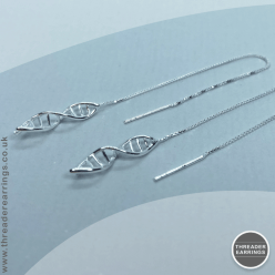 Sterling silver DNA threader earrings