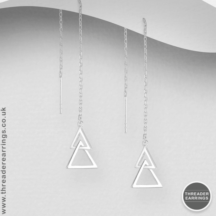 Sterling silver double triangle threader earrings