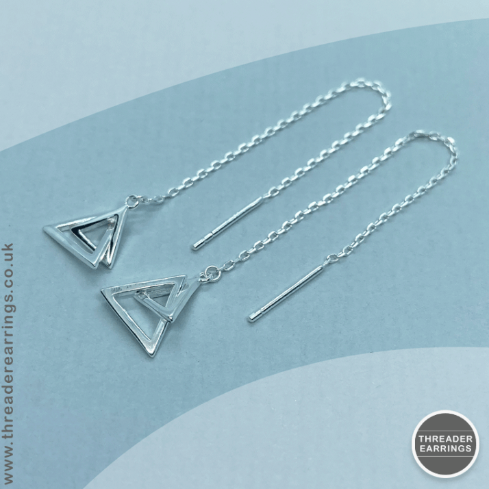Sterling silver double triangle threader earrings - overhead view