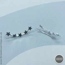 Sterling silver five star ear climbers - side view