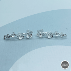 Sterling silver four-flower ear climbers