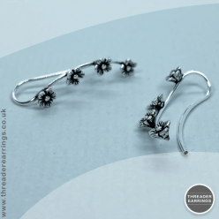 Sterling silver four flower ear climbers