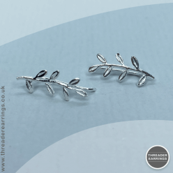 Sterling Silver leaf ear climbers