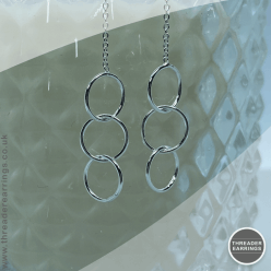 Sterling silver three linked circles threader earrings