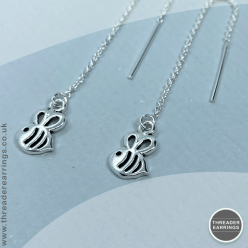 Sterling silver open cut bee earrings