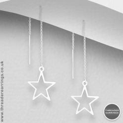 Sterling silver open star threader earrings