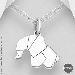 Sterling silver origami elephant